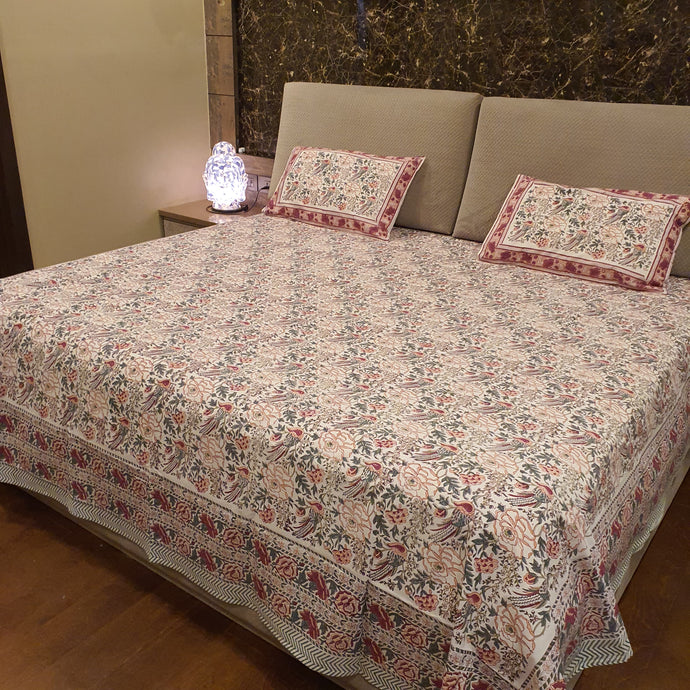 Peach & Maroon on Milky White Base Floral Pure Cotton Handloom Block Printed Luxurious Bedsheet with 2 Pillow Covers(KING SIZE-XL)