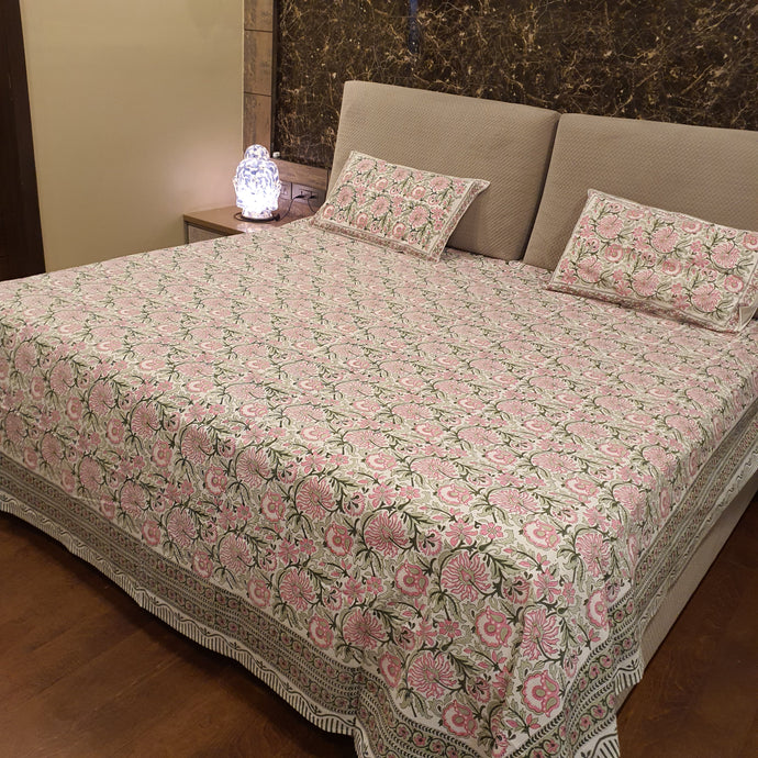 Pink & Green on Milky White Base Floral Pure Cotton Handloom Block Printed Luxurious Bedsheet with 2 Pillow Covers(KING SIZE-XL)
