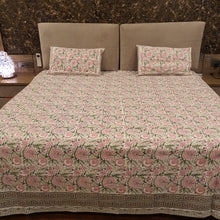 Load image into Gallery viewer, Baby Pink & Red  Print on Milky White Base Floral Pure Cotton Handloom Block Printed Luxurious Bedsheet with 2 Pillow Covers(KING SIZE-XL)