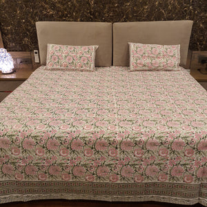 Baby Pink & Red  Print on Milky White Base Floral Pure Cotton Handloom Block Printed Luxurious Bedsheet with 2 Pillow Covers(KING SIZE-XL)