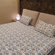Load image into Gallery viewer, Aqua Blue Print on Milky White Base Floral Pure Cotton Handloom Block Printed Luxurious Bedsheet with 2 Pillow Covers(KING SIZE-XL)