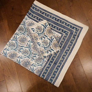 Aqua Blue Print on Milky White Base Floral Pure Cotton Handloom Block Printed Luxurious Bedsheet with 2 Pillow Covers(KING SIZE-XL)