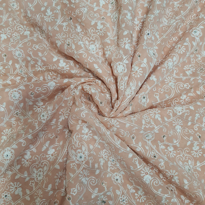 Peach Base With Resham and Swarovski Georgette Embroidered Fabric