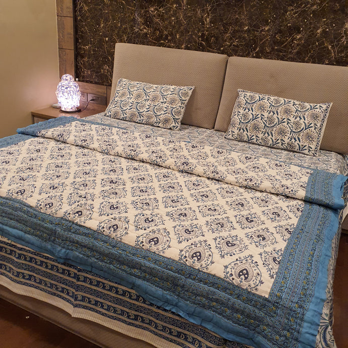 Aqua Blue & Navy Blue Print On Off White Base Pure Cotton Handloom Block Printed Double Bed Dohar
