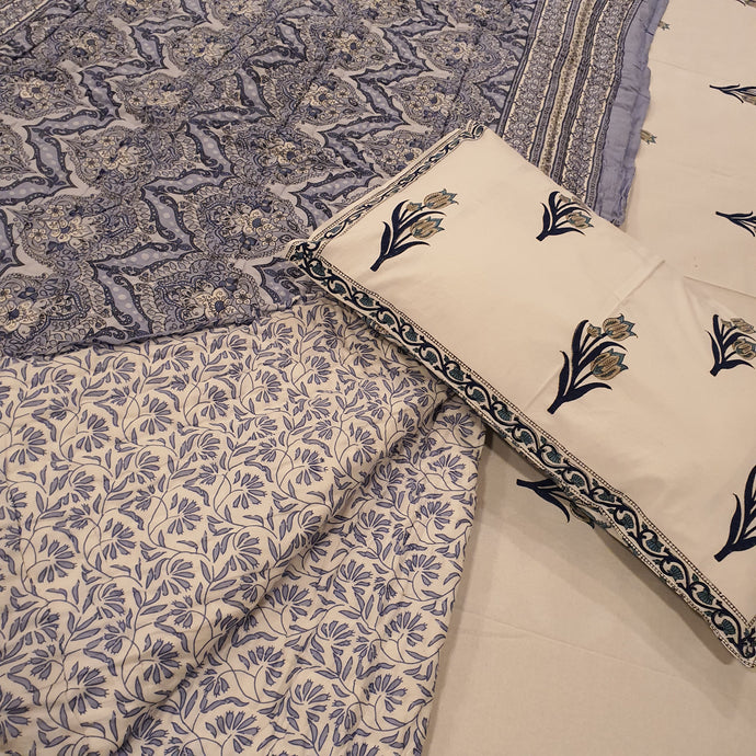 Blue & Grey Print On Off White Base Pure Cotton Handloom Block Printed Double Bed Dohar