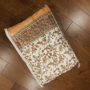 Peach & Brown Print On Off White Base Pure Cotton Handloom Block Printed Double Bed Quilt