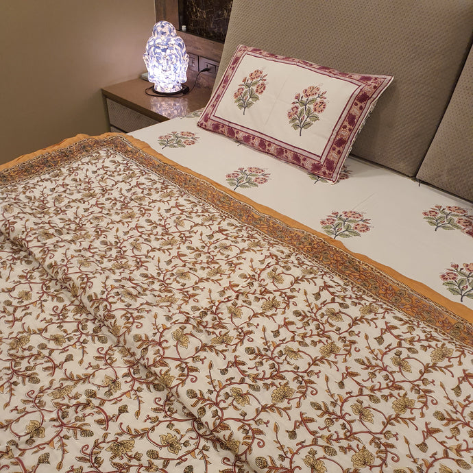 Peach & Brown Print On Off White Base Pure Cotton Handloom Block Printed Double Bed Dohar