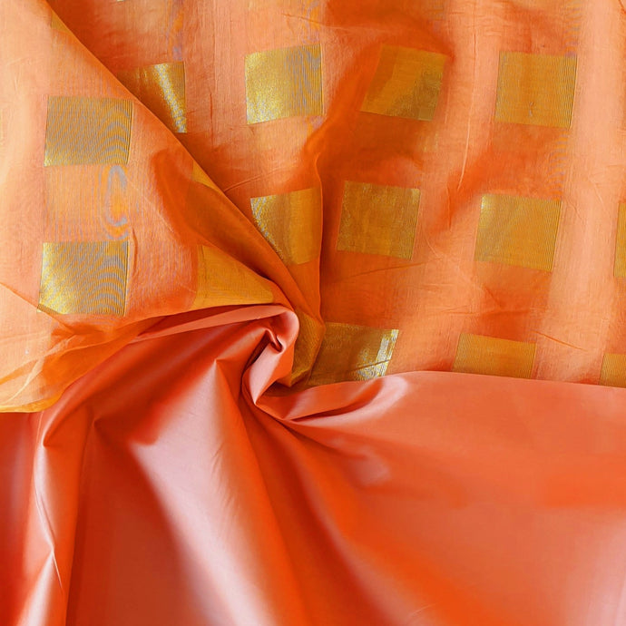 Double Tone Orange Peach Base Chanderi Top & Bottom Set - 2.5 mtr each
