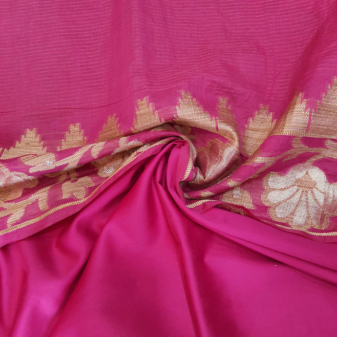 Double Tone Magenta Pink Base Chanderi Top & Bottom Set - 2.5 mtr each