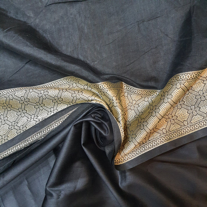 Double Tone Black Base Chanderi Top & Bottom Set - 2.5 mtr each