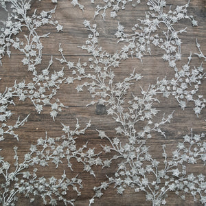 Silver Grey Sequins & Zari work Embroidered Net Fabric