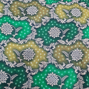 Mehndi Green &Natural Green Chanderi cotton Silk Fabric with Bandhni print and Golden Resham zari Work