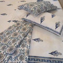 Load image into Gallery viewer, Aqua Blue & Navy Blue Print On Off White Base Pure Cotton Handloom Block Printed Double Bed Quilt & Bed sheet Set
