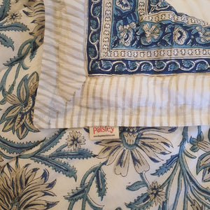 Aqua Blue & Navy Blue Print On Off White Base Pure Cotton Handloom Block Printed Double Bed Quilt & Bed sheet Set
