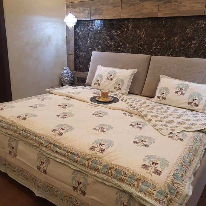 Aqua Blue ,Red & Green Print On Off White Base Pure Cotton Handloom Block Printed Double Bed Quilt & Bed sheet Set