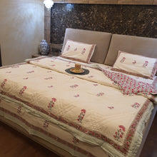 Load image into Gallery viewer, Pink & Sea  Green Print On Off White Base Pure Cotton Handloom Block Printed Double Bed Quilt & Bed sheet Set