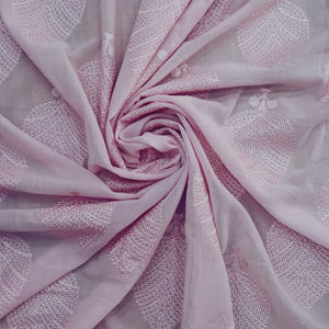 Baby Pink Base & Pink  Embroidery on Cotton 2x2 Rubia Fabric -Black & White