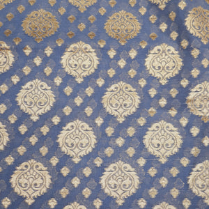 Plwder Blue Base Banarasi Butti Chanderi Silk Fabric with Zari Weaving Motif