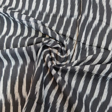 Load image into Gallery viewer, Black & Cream Ikat Cotton Handloom Fabric