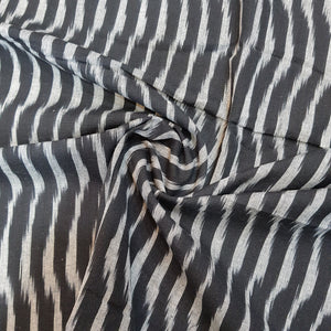 Black & Cream Ikat Cotton Handloom Fabric