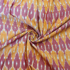 Orange & Maroon Ikat Cotton Handloom Fabric