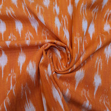 Load image into Gallery viewer, Orange Ikat Cotton Handloom Fabric
