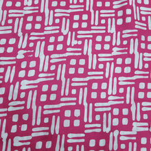 Load image into Gallery viewer, Pink & White Cotton Jacquard Handblock Printed Fabric