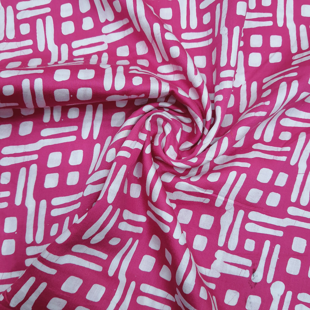 Pink & White Cotton Jacquard Handblock Printed Fabric