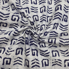 Load image into Gallery viewer, Indigo Blue & White Cotton Jacquard Handblock Printed Fabric