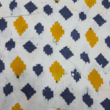 Load image into Gallery viewer, White, Yellow & Blue Cotton Jacquard Handblock Printed Fabric