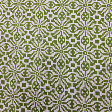 Load image into Gallery viewer, Mehandi Green & White Cotton Jacquard Handblock Printed Fabric