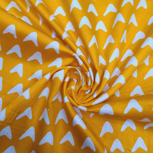 Yellow & White Cotton Jacquard Handblock Printed Fabric