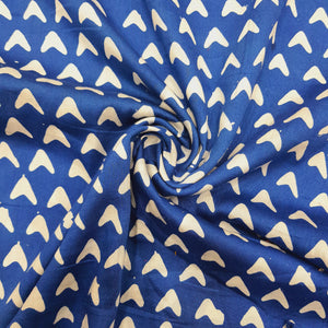 Blue & Cream Cotton Jacquard Handblock Printed Fabric