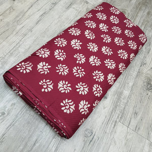 Maroon & Cream Cotton Jacquard Handblock Printed Fabric