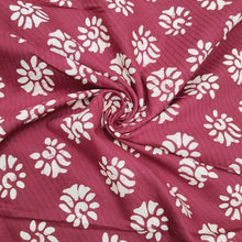 Load image into Gallery viewer, Maroon & Cream Cotton Jacquard Handblock Printed Fabric