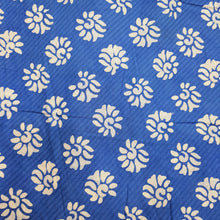 Load image into Gallery viewer, Blue & Cream Cotton Jacquard Handblock Printed Fabric