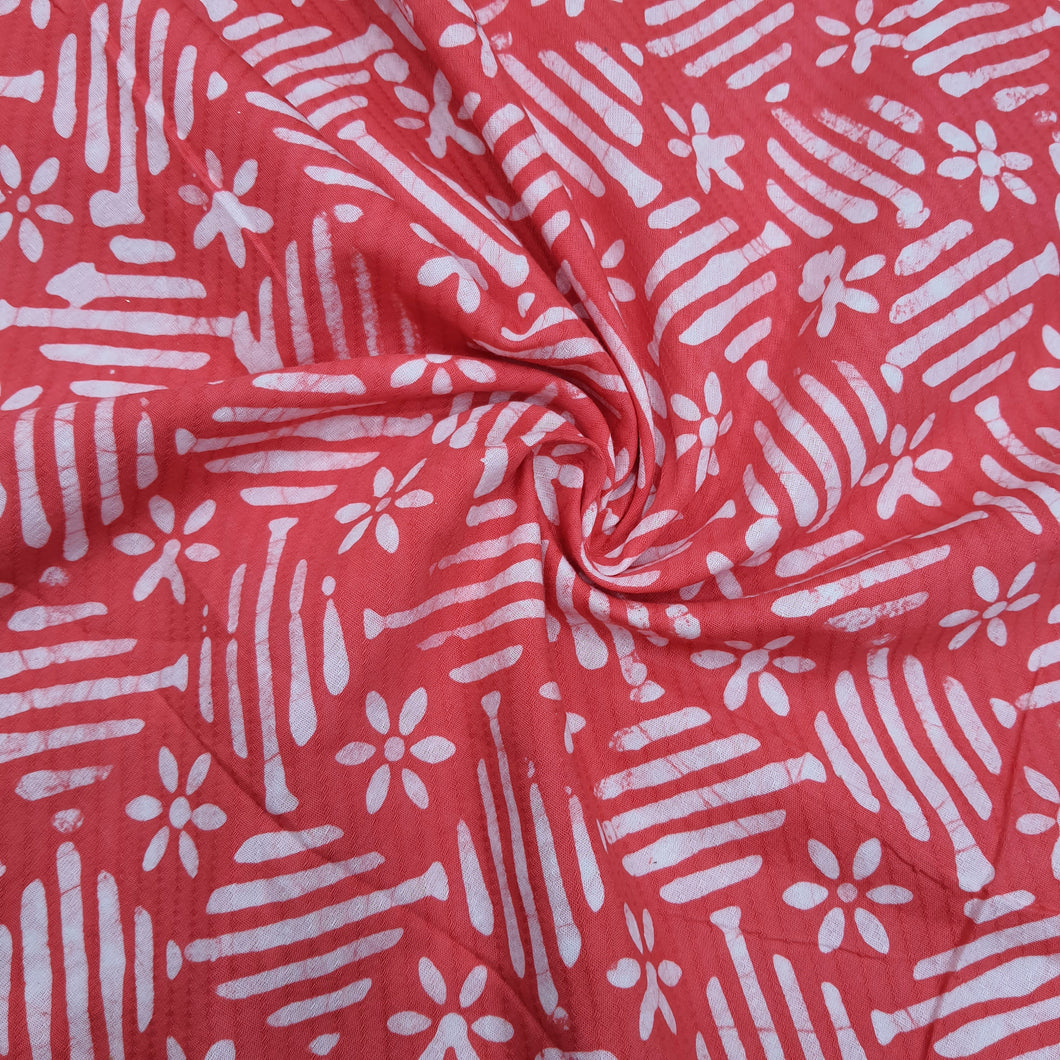 Red & Cream Cotton Jacquard Handblock Printed Fabric