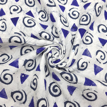 Load image into Gallery viewer, White & Blue Cotton Jacquard Handblock Printed Fabric