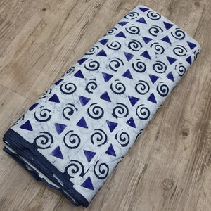 White & Blue Cotton Jacquard Handblock Printed Fabric