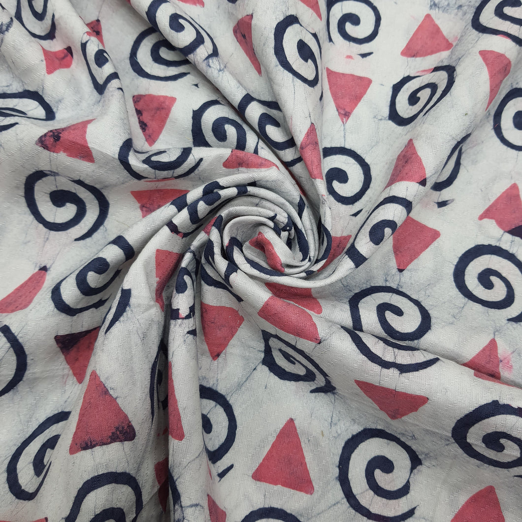 White & Peach Cotton Jacquard Handblock Printed Fabric