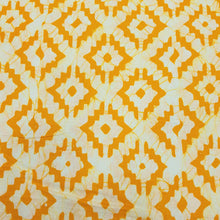 Load image into Gallery viewer, Yellow & Cream Cotton Jacquard Handblock Printed Fabric