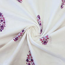Load image into Gallery viewer, White & Purple Cotton Jacquard Handblock Printed Fabric