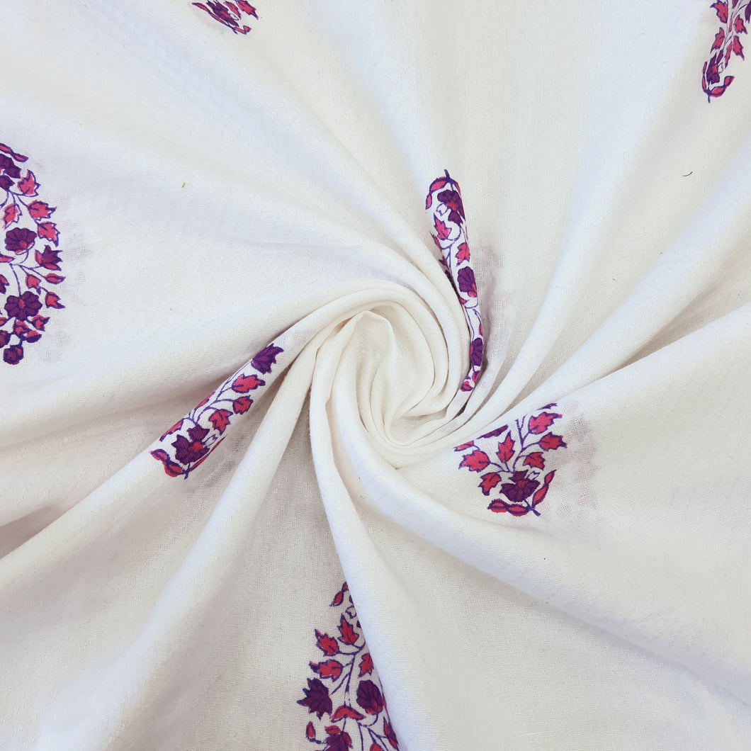 White & Purple Cotton Jacquard Handblock Printed Fabric