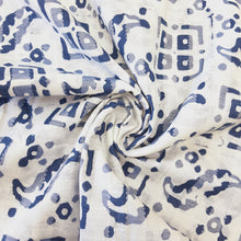 Load image into Gallery viewer, White & Ink Blue Cotton Jacquard Handblock Printed Fabric