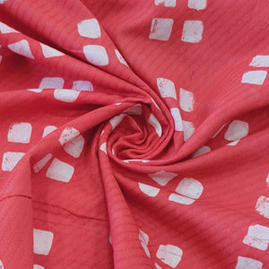 Peach & White Cotton Jacquard Handblock Printed Fabric
