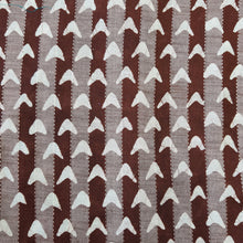 Load image into Gallery viewer, Dark Brown & White Cotton Jacquard Handblock Printed Fabric