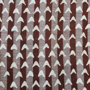 Dark Brown & White Cotton Jacquard Handblock Printed Fabric