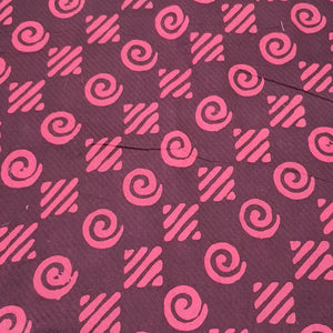 Wine & Peach Cotton Jacquard Handblock Printed Fabric