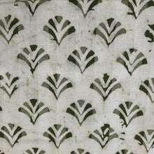 Load image into Gallery viewer, White & Mehandi Green Cotton Jacquard Handblock Printed Fabric