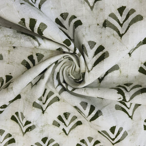 White & Mehandi Green Cotton Jacquard Handblock Printed Fabric